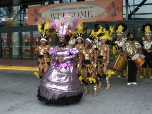 Photo of the dancers in the APWA New Orleans parade