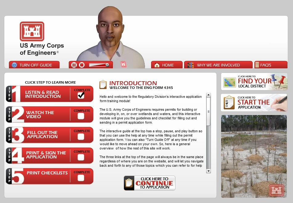 USACE Permit Application Site
