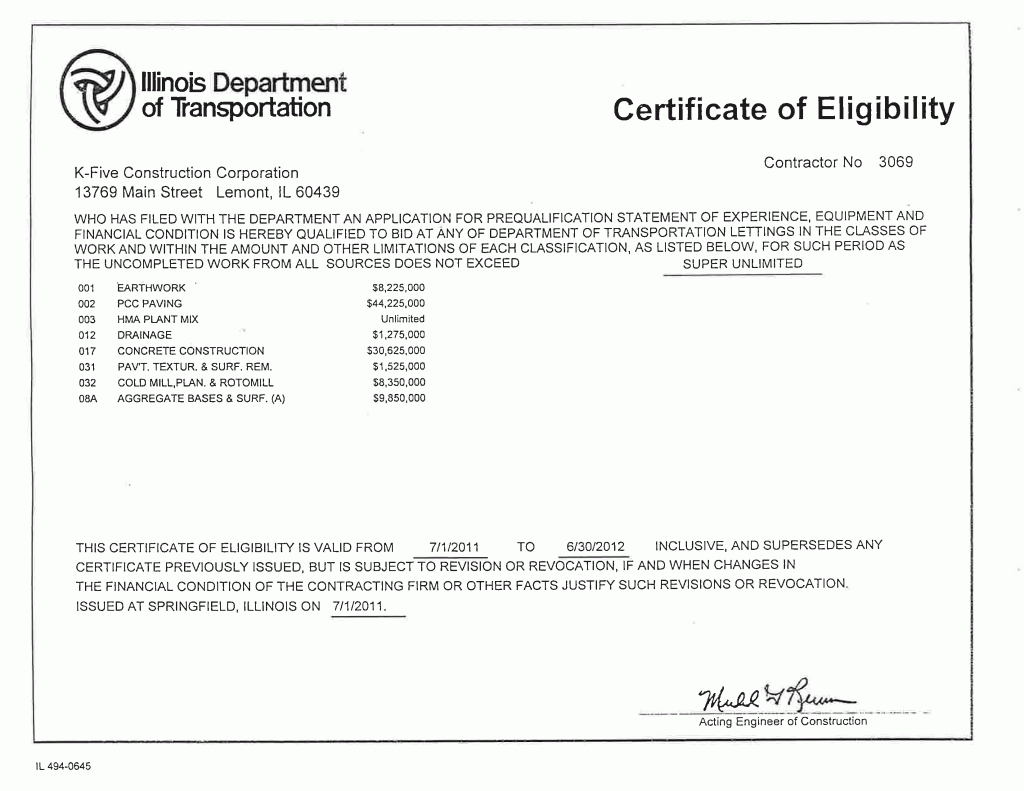 Certificate of Eligibility (IDOT) - K-Five