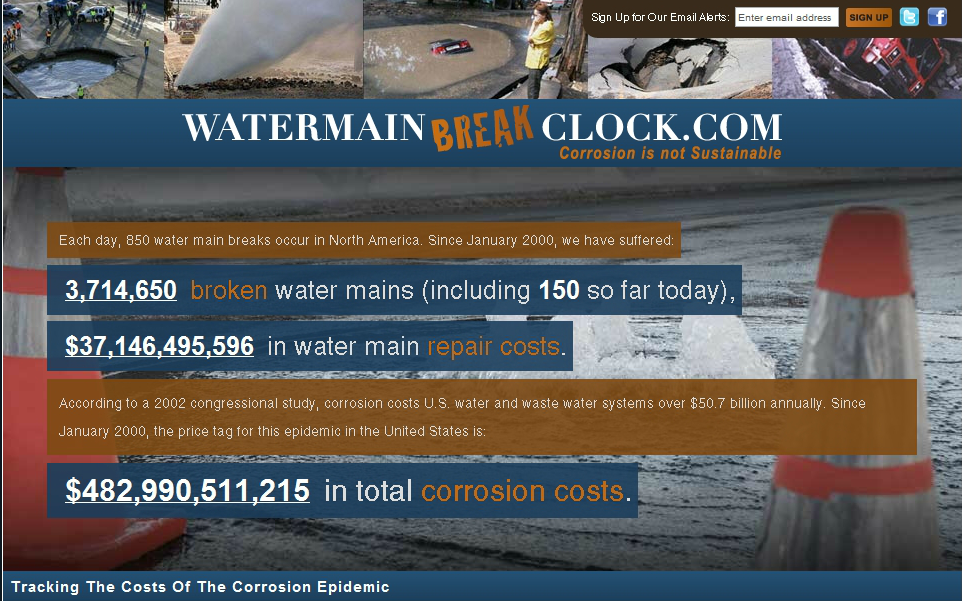 watermainbreakclock.com site