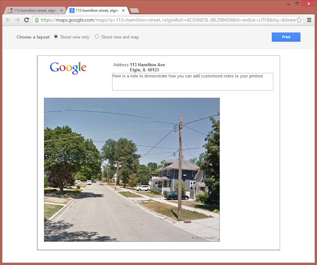 Google Street View Printout