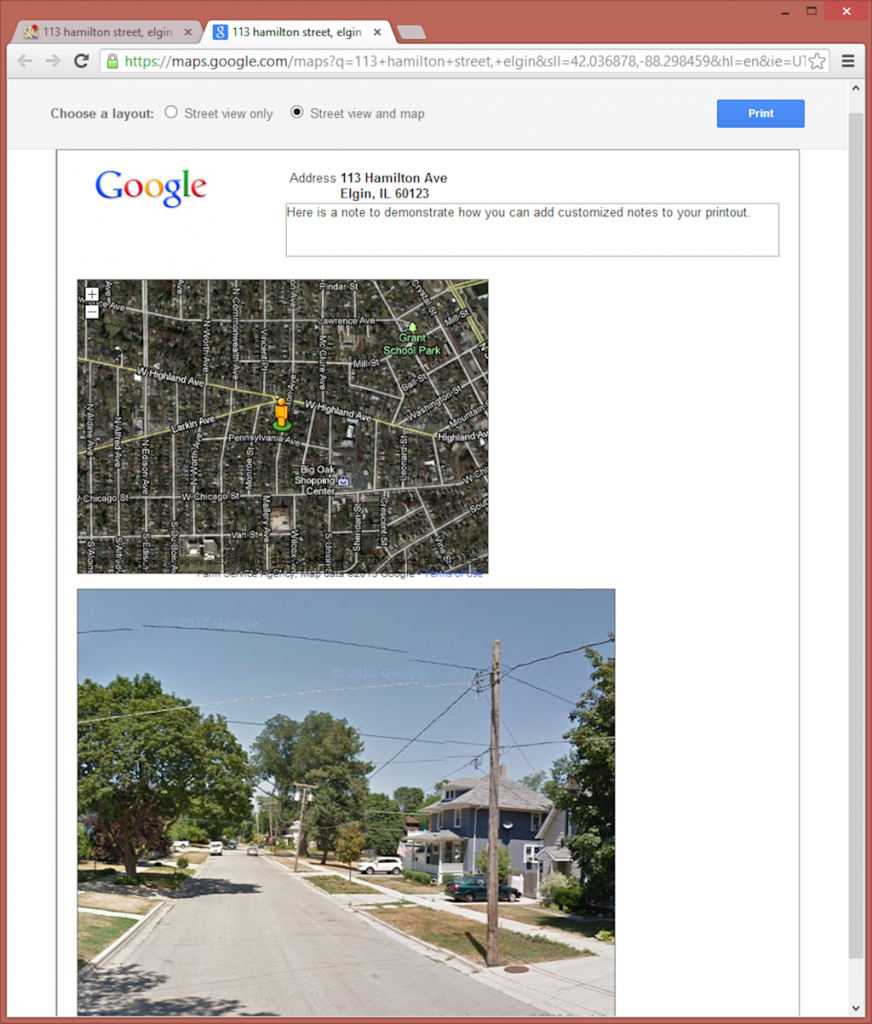 Google Street View Printout with Map