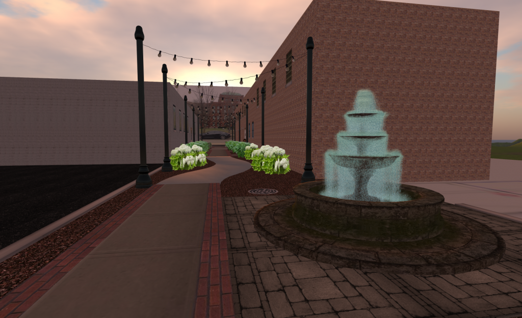 Alley 3D Visualization Looking West at sunset
