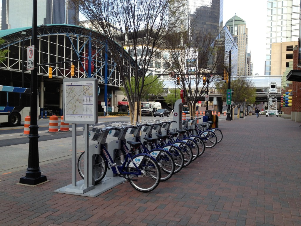 Bike sharing station in Charlotte, NC