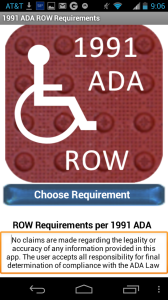 Screenshot from the 1991 ADA ROW Requirement Mobile App