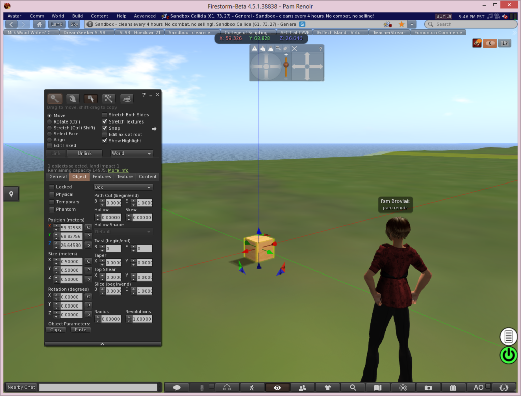 Second Life 3D Modeling Interface