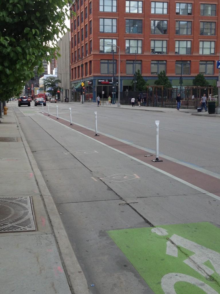 Dedicated bike lane on 15th street in Denver