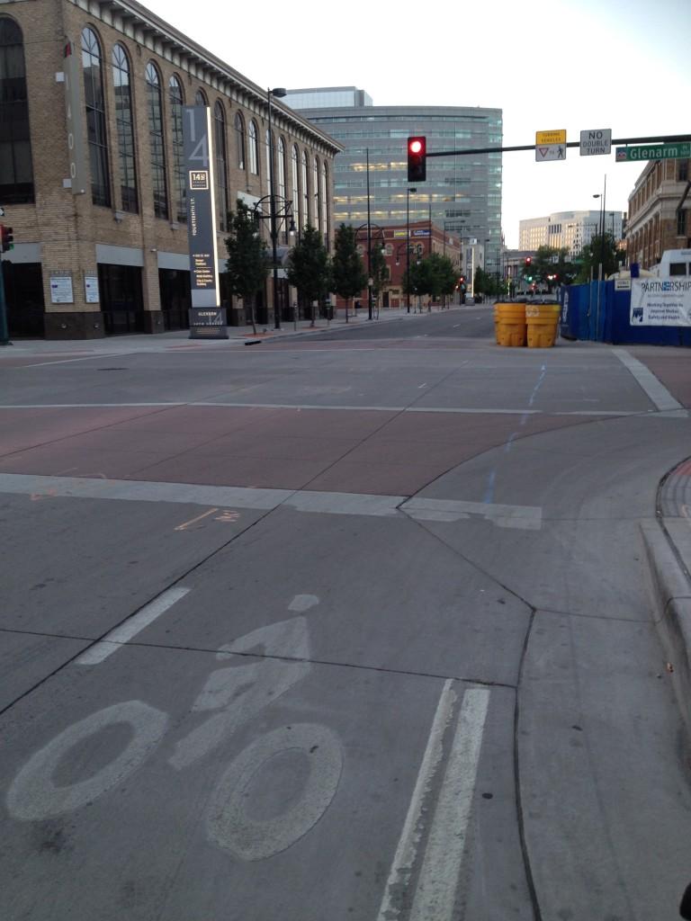 Barricades blocking the bike lane in Denver