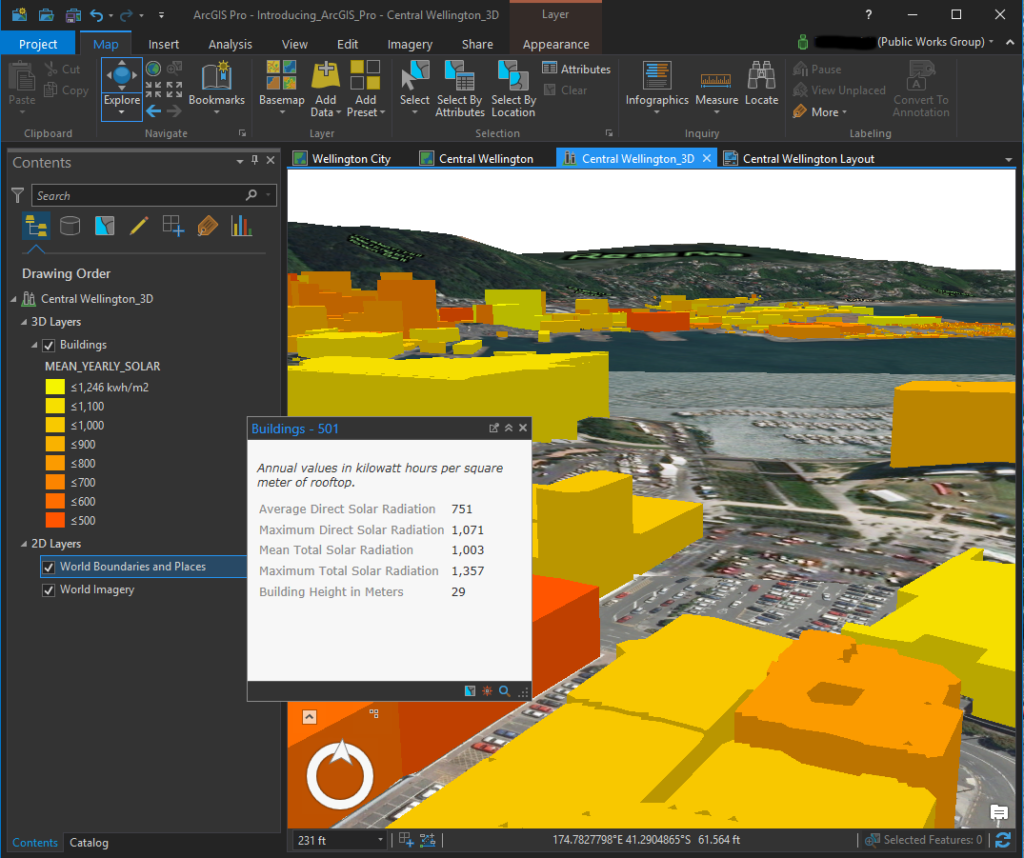 ArcGIS Pro ScreenShot of 3D Map