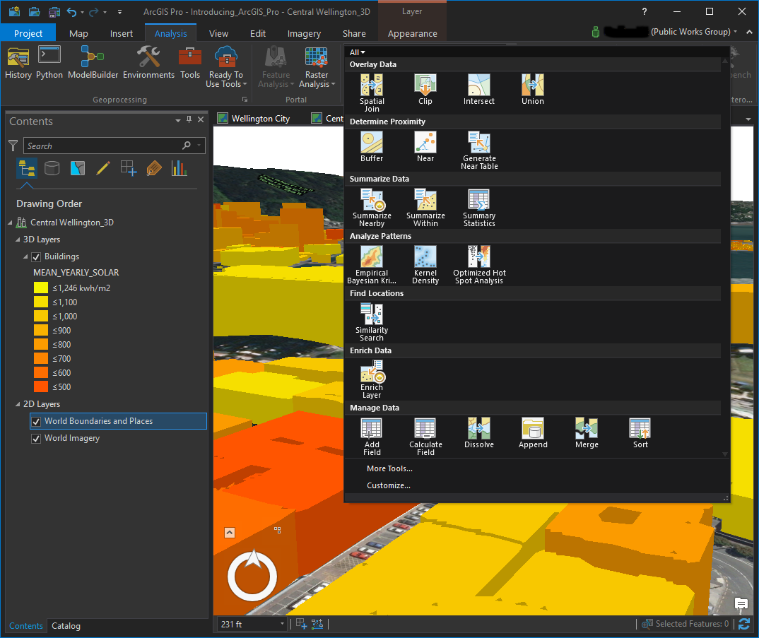 ArcGIS Pro ScreenShot of Analysis Tools – Public Works Group