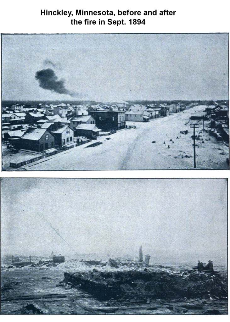 Photos of the town of Hinckley, Minnesota before and after the fire in 1894